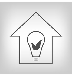 Eco house with bulb and leaves vector image