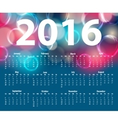 Elegant template for 2016 calendar vector image