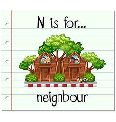Flashcard letter N is for neighbour vector