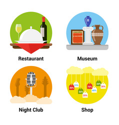Flat style entertainment icons vector