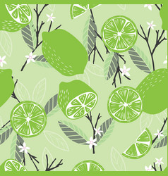 fruit seamless pattern lime with branches leaves vector image