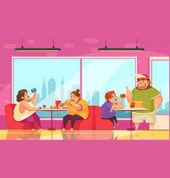 Gluttony and cafe background vector
