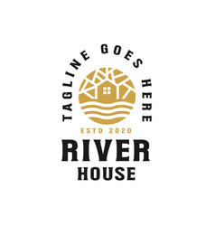 golden river house logo template vector image