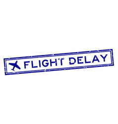 Grunge blue flight delay word with airplane icon vector