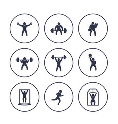 Gym fitness exercises icons in circles over white vector