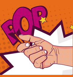 Hand clenched pop art vector