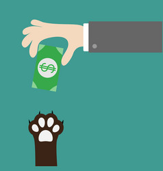 hand giving paper money cash with dollar sign dog vector image