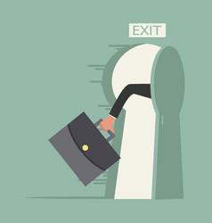 Hand hold briefcase run to open exit door vector