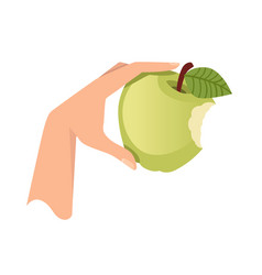 Hand hold green bitten apple flat isolated vector