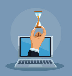 Hand with hourglass on laptop vector