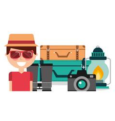 happy man tourist vacation equipment travel vector image