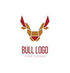 head of bull geometric style logo design vector image