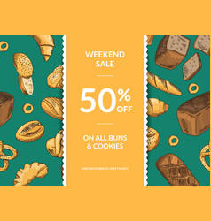 horizontal sale template with decorative vector image