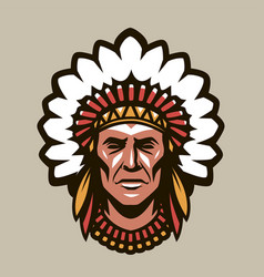 Indian chief in headdress feathers warrior vector