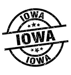 Iowa black round grunge stamp vector