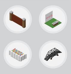 Isometric city set of barrier aiming game flower vector
