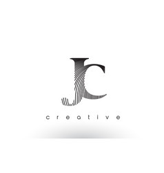 jc logo design with multiple lines and black and vector image