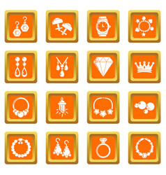 Jewelry shop icons set orange square vector