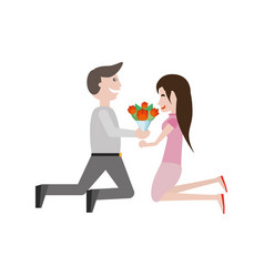 Kneeling couple love with flowers image vector