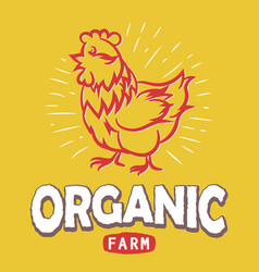 label with a chicken silhouette eco organic farm vector image