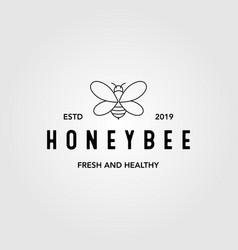 Line art honey bee vintage logo design bubble bee vector