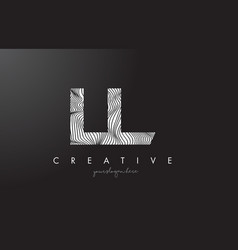 Ll l letter logo with zebra lines texture design vector