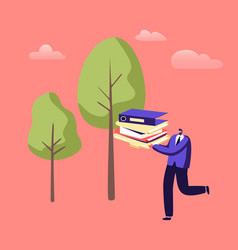 Man carry huge pile paper documents or vector