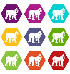 Mandrill monkey icon set color hexahedron vector