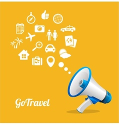 Megaphone and icon Travel concept vector
