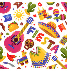 mexican fiesta pattern traditional floral holiday vector image