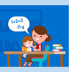 Mother teaching basic math to her little daughter vector