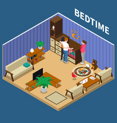 Nanny child bedtime isometric composition vector