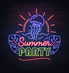 neon sign summer party with jellyfish vector image