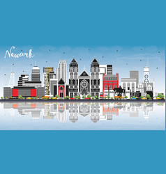 Newark new jersey city skyline with color vector
