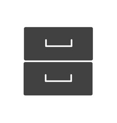 Office cabinet drawer furniture supply silhouette vector