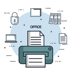 Office printer paper document copy work object vector