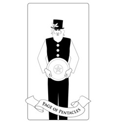 outlines page or knave of pentacles with top hat vector image
