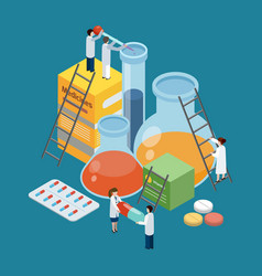 Pharmaceutical production composition isometric vector