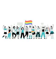 pride parade young people lgbt homosexual vector image