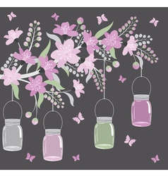Purple Floral Branch With Jars vector image