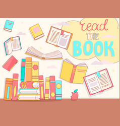 read the book concept close and open books vector image