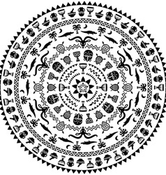 Round ornament with animals vases drums vector image