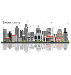 sacramento california city skyline with gray vector image