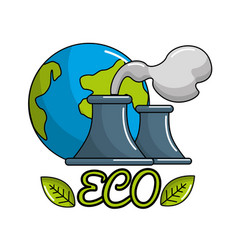 Save planet of pollution factories icon vector