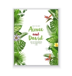 Save the date card in tropical style vector