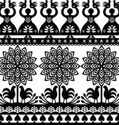 Seamless Polish folk art black pattern Wycinanki K vector