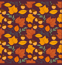 seamless repeating pattern with leaves acorns and vector image