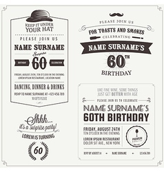 Set adult birthday invitation design elements vector