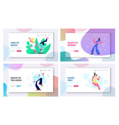 set dancing people on disco party vector image