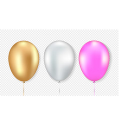 set golden white and pink balloon vector image